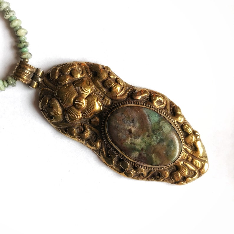 Turquoise and raw brass Tibetan metalwork pendant agate cabochon necklace ~ unique ~ 18