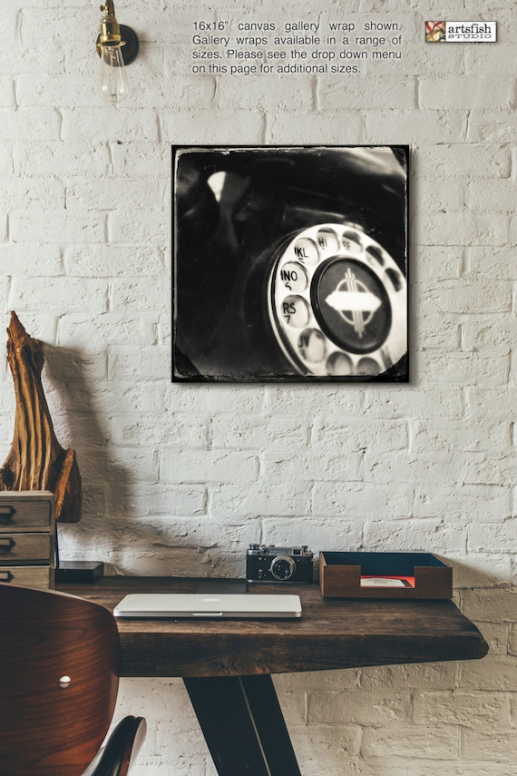 Canvas wrap ~ Vintage Rotary Phone ~ READY TO HANG ~ solid back photo print fine wall art quality premium materials Artsfish Studio