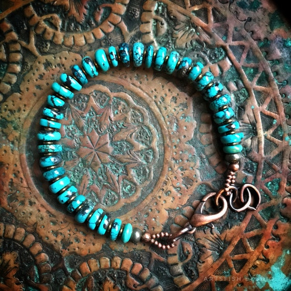 Men's/Women's turquoise bracelet  ~ rugged rustic antiqued copper brass pyrite Artsfish Studio