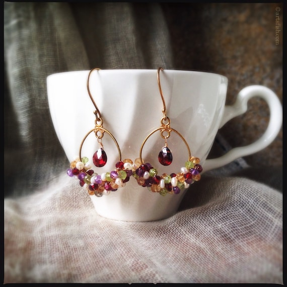 Gemstone Earrings ~ Multi gemstone amethyst citrine pearl garnet peridot 24k vermeil wire wrapped hoop boho elegant dangle Artsfish Studio