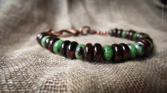 Men's bracelet ~ unisex ~ Women's ~ rugged rustic ruby zoisite garnet antiqued copper mixed stone bohemian boho gift him her Artsfish Studio