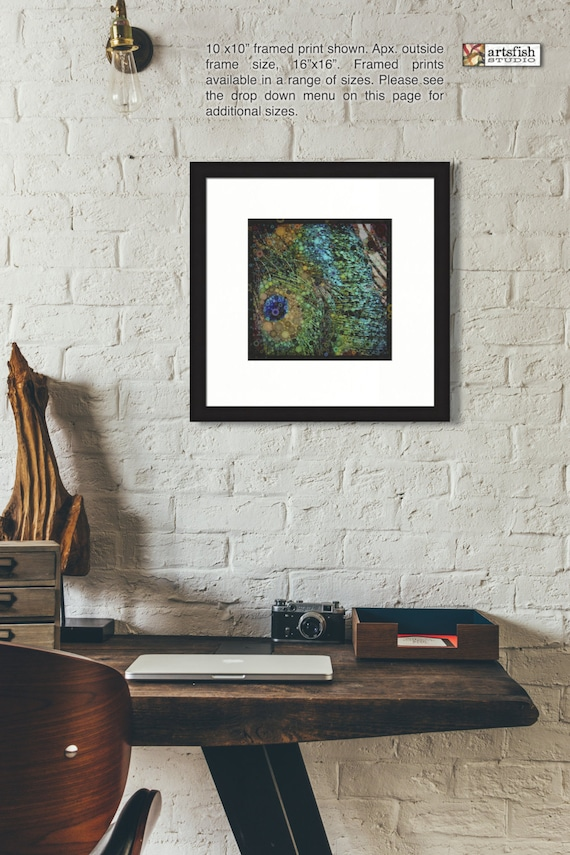 Framed Print ~ Peacock Feathers ~ framed matted original wall art photo print museum quality, giclée archival materials Artsfish Studio