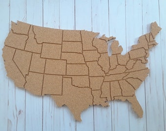 Us Map On Cork Board.Corkboard Map Etsy
