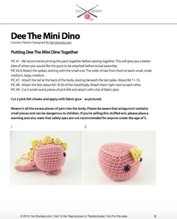 Dinosaur Crochet Pattern. Mini Dinosaur Amigurumi Crochet   Etsy