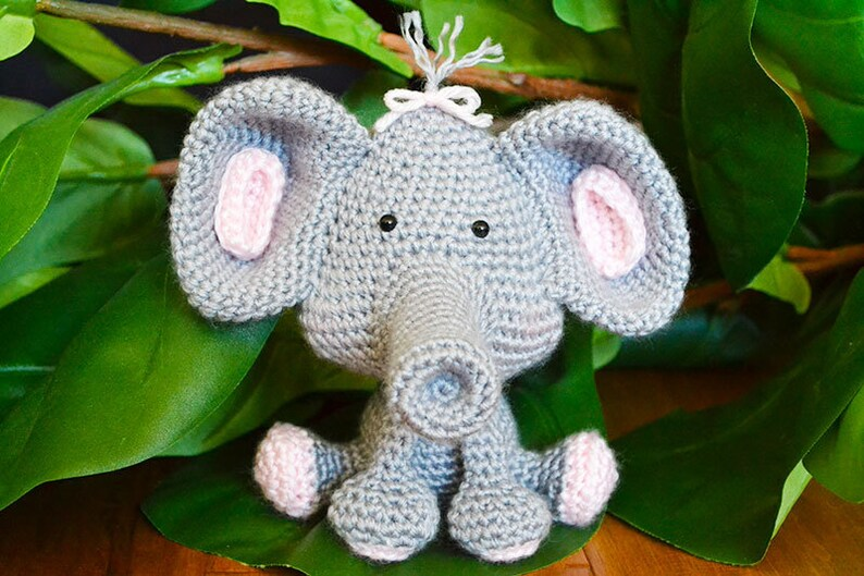 Elephant CROCHET PATTERN. Ellie The Elephant. Crochet Elephant image 0