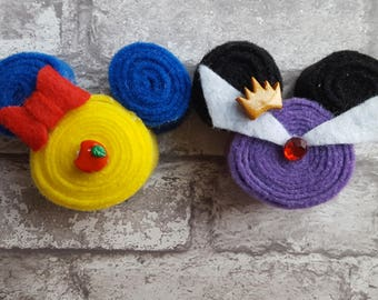Snow White and Evil Queen Mickey Mouse Inspired Hair Bows and/or Pins