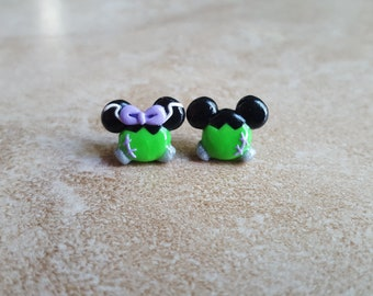 Frankenstein Mickey Minnie Mouse Inspired Earrings-Halloween Mickey Inspired Earrings