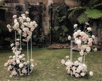 31fc43e376e White Modern Rectangular Tall Metal Stand Wedding Centerpiece - MIN ORDER  QTY 4