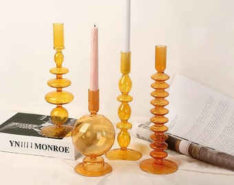 Orange - Bubble Glass Candlestick Holders / Taper Candle Holder / Mid-Century Modern Décor / Glass Candlestick / Home Décor