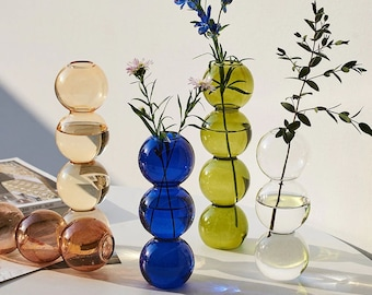 Abstract Bubble Glass Vase / Bud Steam Vase / Colored Eclectic Mid-Century Modern Art / Table Object Home Decor Event