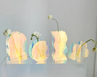 Iridescent Rainbow Mid-Century Modern Abstract Acrylic Art Vases / Stem Bud Vase / Clear Vase / Art Home Décor / Minimalist Eclectic
