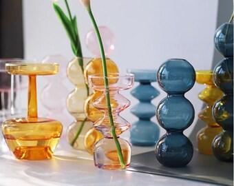 Bubble Glass Mid-Century Modern Vase / Bubble Glass / Stem Bud Vase / Modern Vase / Stem Vase / Events Decor