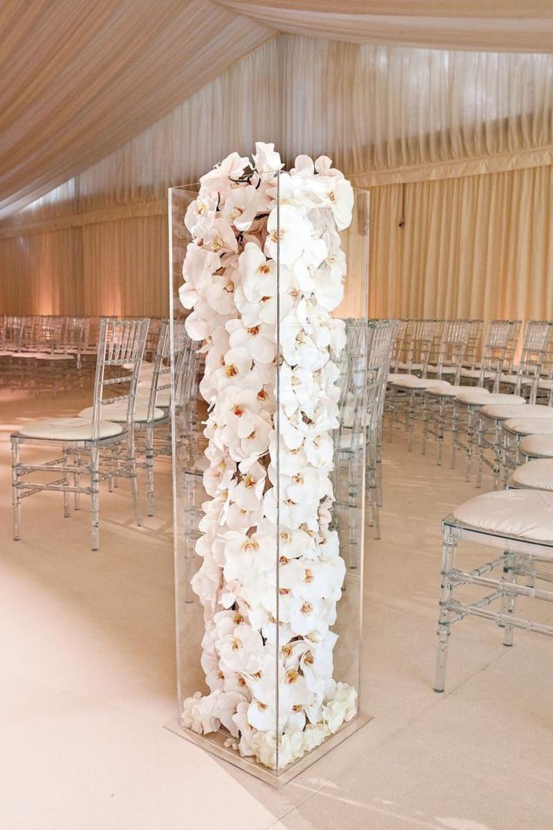 Acrylic Lucite Tall Column Centerpiece Stand