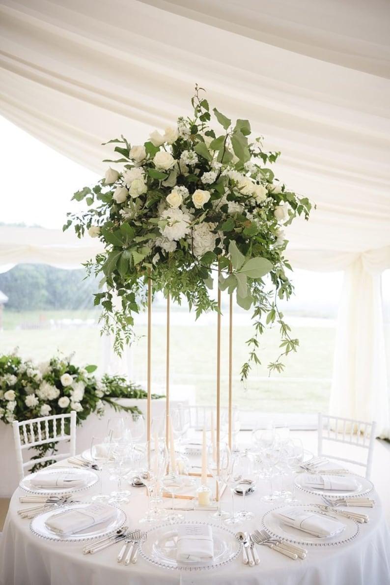 GOLD  Modern Rectangular Tall Metal Stand Wedding Centerpiece image 0