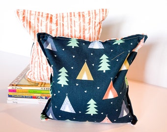 Forest / Tent Nursery & Kid's Bookends, Child Safe Fabric Bookends, Reversible- Colorful Children's Decor, Modern Bean Bag Bookends