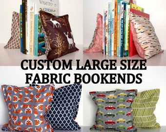 LARGE SIZE Nursery & Kid's Bookends, Child Safe Fabric Bookends, Reversible- Colorful Nursery and Children's Decor, Modern Bean Bag Bookends