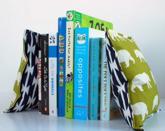 Green Bear Hike Nursery & Kid's Bookends, Child Safe Fabric Bookends, Reversible-Colorful Nursery and Kid's Decor, Bean Bag Bookends