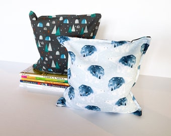 Polar Bear Nursery & Kid's Bookends, Child Safe Fabric Bookends, Reversible- Colorful Nursery and Children's Decor, Modern Bean Bag Bookends