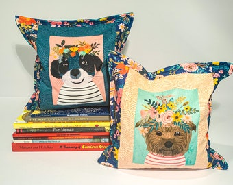 Custom Floral Animals : Kid's Large Bookends, Child Safe Fabric Bookends, Reversible-Colorful Nursery and Kid's Decor, Bean Bag Bookends