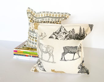 Rocky Mountain Animal Nursery & Kid's Bookends, Child Safe Fabric Bookends, Reversible- Colorful Children's Decor, Modern Bean Bag Bookends