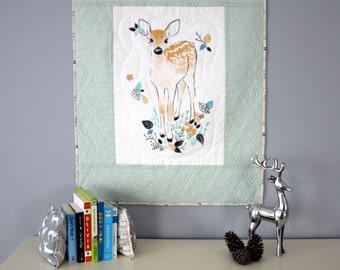 Quilted Wall Hanging, Modern wall decor, deer or woodland decor
