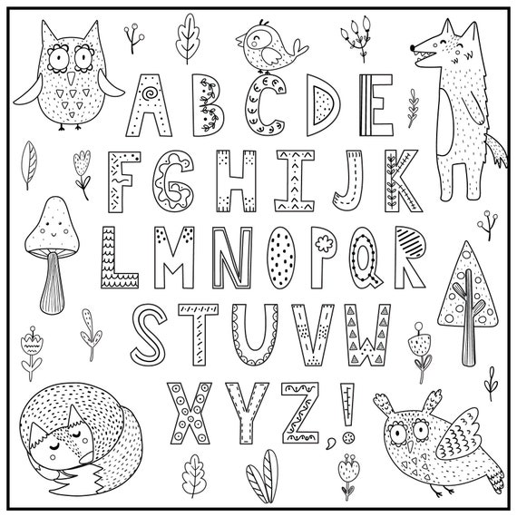Huge Coloring Poster-Woodland Alphabet Etsy