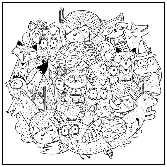Huge Coloring Poster-Woodland Creatures