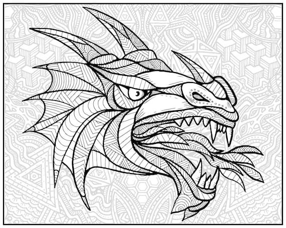 Huge Coloring Poster-Dragon Etsy
