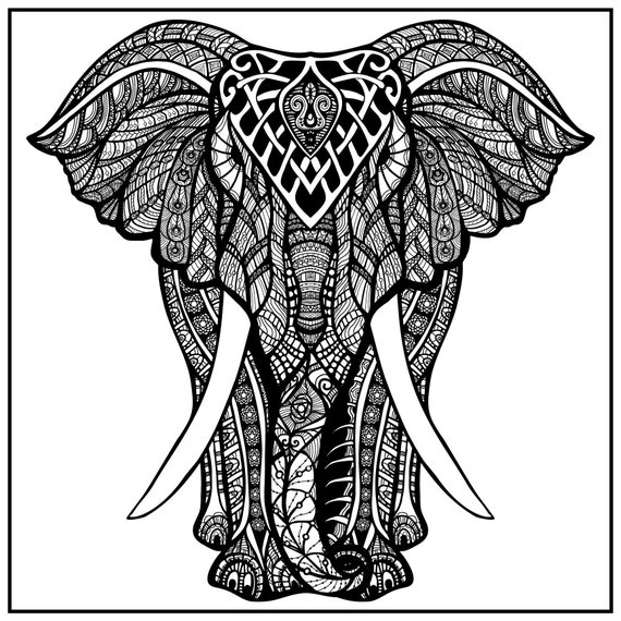 Huge Coloring Poster-Elephant Etsy