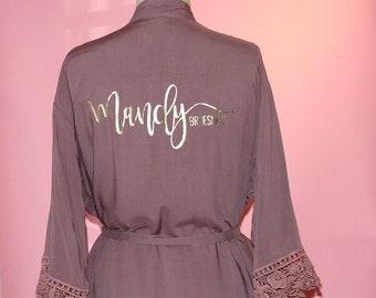 7561a0e33c8 Personalized Bridesmaid cotton lace robe