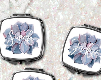 Set of, 3, 4, 5, 6, 7, Bridal shower favors, Personalized, Bridesmaid Gifts, mirrors, personalized, compact, mirror, blush, succulent, girly