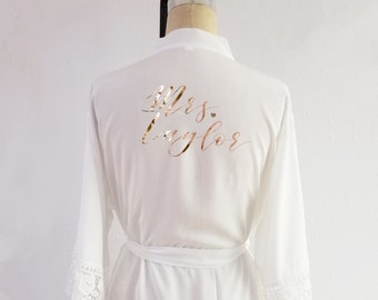 Bridal robe with lace 456296e49
