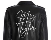 Custom Mrs. Leather Jacket Iron on Heat Transfer Mrs. Jacket Mrs. denim jacket Personalized Decal Bride leather jacket bride jacket -HT26HTV