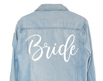 bd57aae4c32 Personalized custom bride iron on decal for leather or denim jacket