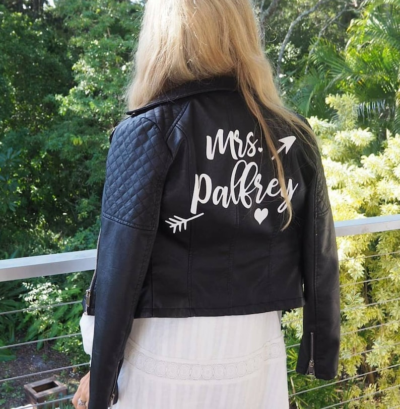 4be3732f5 Custom Mrs. Leather Jacket Iron on Heat Transfer, Mrs. Jacket, Mrs. denim  jacket, Personalized, Decal, Bride leather jacket - HT24HTV