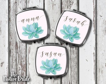 Set of, 3, 4, 5, 6, 7, Bridal shower favors, Personalized, Bridesmaid Gifts, mirrors, personalized, compact, mirror, blush, succulent, pink