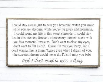 Aerosmith /'Don/'t Want To Miss A Thing/' Lyrics framed print Wedding Gift