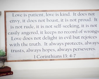 Love is Patient Wood Sign 1 Corinthians 13 Wooden Sign Large Bible Verse Sign Scripture Sign Christmas Gift