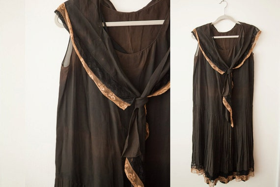 Vintage 1920s Sheer Day Dress // Rayon or Silk wit