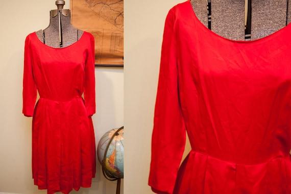 Vintage 60s Red Satin Dress // Formal Occasion //