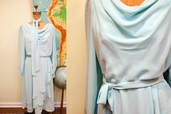 Vintage 70s Robins Egg Blue Chiffon Dress // Size