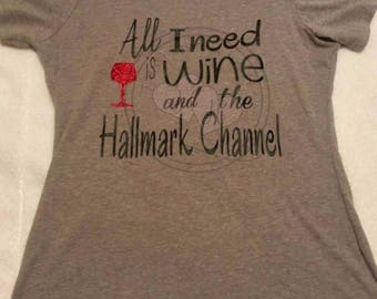 7fb54b79b Hallmark Christmas T Shirt, HolidayT-shirt, Funny Wine Shirt, Christmas  Shirt, Holiday Shirt, Drinking Shirt