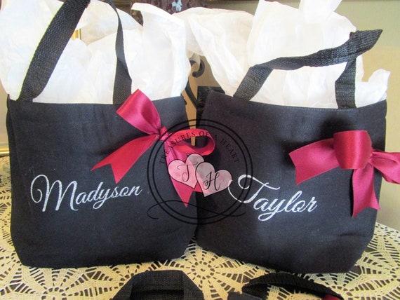 Black Tote Bag Sliver Tote Bags Bridal Totes Wedding Totes Birthday Bags Flower Girl Bags Wedding Favors