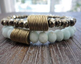 Amazonite and Pyrite Gemstone Stacking Bracelets/Brass Discs/Set of Two