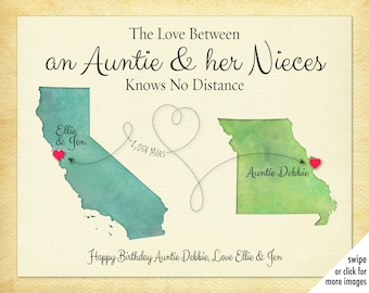 Aunt Gift Personalized Auntie Print For Niece Long Distance Birthday Idea Going Away