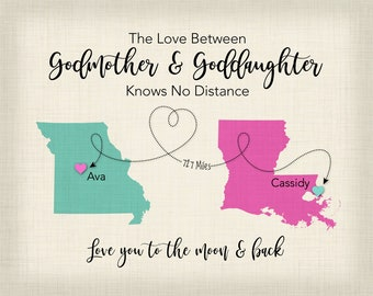 Personalized Goddaughter Gift For Godmother Long Distance Map Print Baptism First Birthday Idea