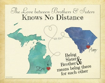 Long Distance Gift For Brother Sister Going Away Print Birthday Idea Choose Your Places Map Art