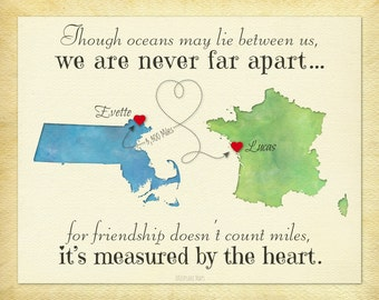 Going Away Gift For Friend Long Distance Friendship Never Far Apart Quote Birthday Idea Moving Any Two Places