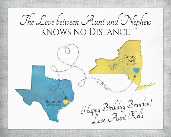 Auntie and Nephew Distance Map Gift, Personalized Gift from Aunt, 2 Places  Map Canvas, Nursery Decor