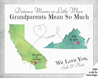 Christmas Gift for Grandparents who live far away, Long Distance Grandparents Gift, Personalized Map Art for Nana and Pop Pop